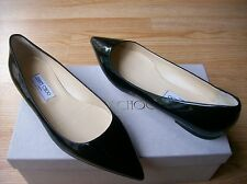 $550 Jimmy Choo Alina Shoes Pointy Toe Flats Black Patent Leather 41 US 11 NIB