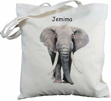 PERSONALISED ELEPHANT COTTON SHOULDER BAG shopper tote