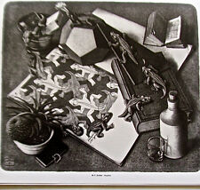 M C Escher  Reptiles Poster Reprint Small Ones on Desk Offset Lithograph 14x11