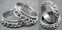R036S charm men cool spin curb chain Stainless Steel Ring you pick size New Hot