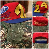 VINTAGE 90s Jeff Gordon BIG LOGO Embroidered Spellout Snapback Hat #24 Kudzu