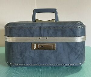 Vintage Retro Marble Blue Carry On Travel Train Makeup Case Luggage Box Mirror