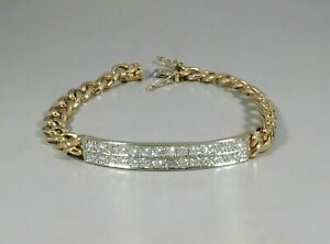 14K YELLOW GOLD DIAMOND BAR BRACELET 1.12 TCW