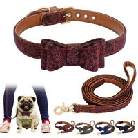 Small Dog Collar & Lead Set Pet Puppy Cat Cute Bow Tie Collars Leads for Walking