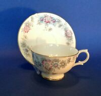 Clarence Pedestal Tea Cup And Saucer Blue And Pink Daisies - Bone China England