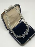 Vintage Necklace Faceted Graduated Glass Beads Collar Length Sparkly Costume