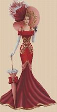 Elegante Dama en Rojo Vestido Punto de Cruz Completo Kit-No.1-156yy