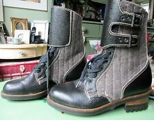 Junior Boys/Mens Genuine Gaultier Commando Style Leather Boots Size 7