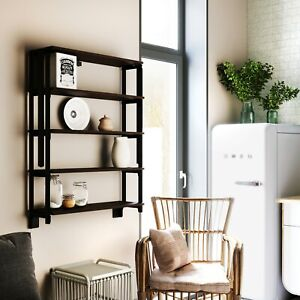 Convertible Bookshelf to Table 2 in 1 Wall Desk - 5 Tier Shelving Unit White
