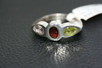 Sterling Silver 2.4 CT Three Stone Garnet Peridot Amethyst Women's Ring Sz 7.5