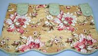 """Waverly Quilted Lined Floral/Check Tab Valance ~ Green Multi ~ 16"""" L x 25"""" W NEW"""