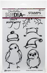 """Ranger Dina Wakley Media Cling Stamps 6""""X9""""-Scribbly Holiday Birdie 2"""