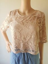 FOREVER NEW Ladies Blush Lace Lined Short Sleeve Top Size: M  EC