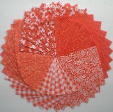 """40 - 4"""" Orange Cotton Quilt Fabric Squares Quilt Blocks, Quilting 114"""