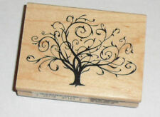 """Flourished Fall Tree Rubber STAMP Wood Mounted NEW 3"""""""