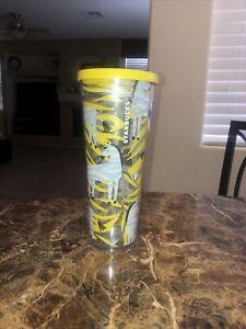 Starbucks Zebra Venti 24 oz Cold Cup Tumbler Yellow Gray Black No Straw HTF