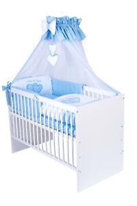 Babybett T1 mit 10-tlg Komplett-Set Bettwäsche Matratze Nestchen Herzchen Blau
