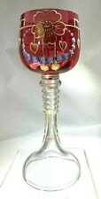 Antique Moser Hand Painted Bohemian Rose to Clear Enameled Floral  Wine Glass