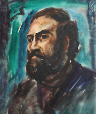 Vintage impressionist watercolor painting man portrait  FREE SHIPPING