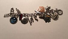 Vintage Sterling Silver Charm Bracelet 17 Charms Enamel Double Links 1970S Free