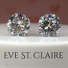 4 CT diamond stud earrings D VVS1 14K white gold round wedding solitaire 3