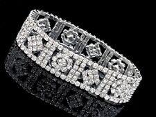 Bridal Wedding Rhinestone Crystal Prom Party Stretch Bangle Bracelet TB18