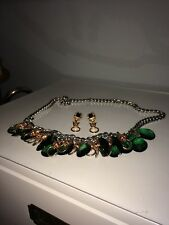 Mawi London Necklace And Earring Set  Rose Gold Tigers And Green Drops