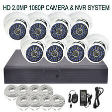 (8) 2MP1080P HD 48LEDs CCTV IP DOME Camera 8-CH Net Plug and Play POE NVR SYSTEM