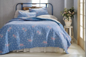 NEW Simply Shabby Chic Blue LILY ROSE CHAMBRAY King Quilt ~French Cottage~