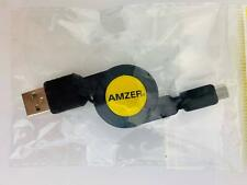 Amzer Micro USB Retractable Data Cable Black