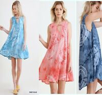 PLUS XL-1XL-2XL UMGEE CORAL NAVY or BABY BLUE TIE DYE Swing Dress/Tunic BHCS