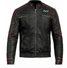 CUSTOMIZED MASS EFFECT3 - N7 COMMANDER SHEPARD STYLISH MOTORCYCLE LEATHER JACKET