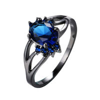 Women's Oval Blue Sapphire Wedding Ring 10KT Black Gold Filled Jewelry Size 6-10
