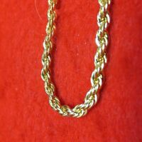 """8"""" 14KT GOLD EP 3MM ROPE FRENCH STYLE CHAIN BRACELET"""
