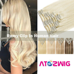 """15""""-28"""" 100% Real Remy Full Head Clip In Human Hair Extensions Highlight 70-140G"""