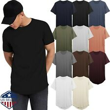 Men Hipster T shirts Extended Tee Longline Elongated Fashion Casual Hip Hop