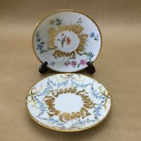 Pair Of Vintage Chinese Hand Painted Floral Design Collectible Saucers