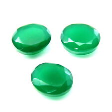 16.9Ct 3pc Lot Natural Green Onyx Oval Faceted loose Gemstones (Emerald Substitu