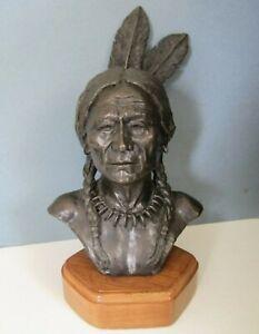 "1975 Artist Jim Miller Bronze Sculpture of Native American Indian 10/20 13"""