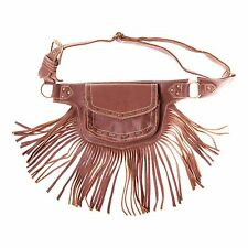 Unisex Fringed Festival Leather Hip Fanny pack Travel Belt-70154