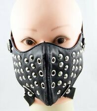 Black Punk Rave Mens Unisex Motorcycle Face Mask Leather Goth Hip Hop Steampunk