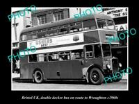 OLD POSTCARD SIZE PHOTO OF BRISTOL ENGLAND DOUBLE DECKER BUS WROUGHTON c1960