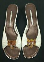 Donald J Pliner Slides Sandals Size 9 White Faux Tortoise Shell Elephant Accent