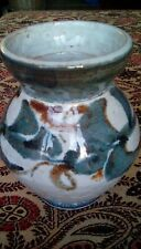 STUDIO POTTERY  EARTHENWARE VASE SLIP DECORATED IN  BLUE BROWN AND OFF WHITE