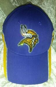 Minnesota Vikings 2 Tone NFL Women's Rhinestone Bling NFL Cap Hat ~NEW~