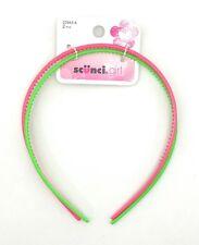 Scunci Girl's Thin Plastic Headband, Green Pink, 2 Count