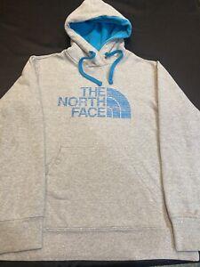 The North Face Sweatshirt/Hood Men Sz.S-Cotton Bl-Gray/Blue Spellout-L Sleeve