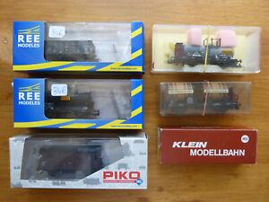 lot de six wagons HO:REE-Piko-Klein Modellbahn-Trix-Marklin