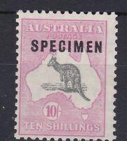 K846) Australia 1929 10/- Grey & Pale Pink sml. Multi. wmk. Kangaroo.overprinted