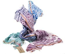 Multi Coloured Paisley Ombre Blue Green Pink 100% Cotton Ladies Scarf by Codello